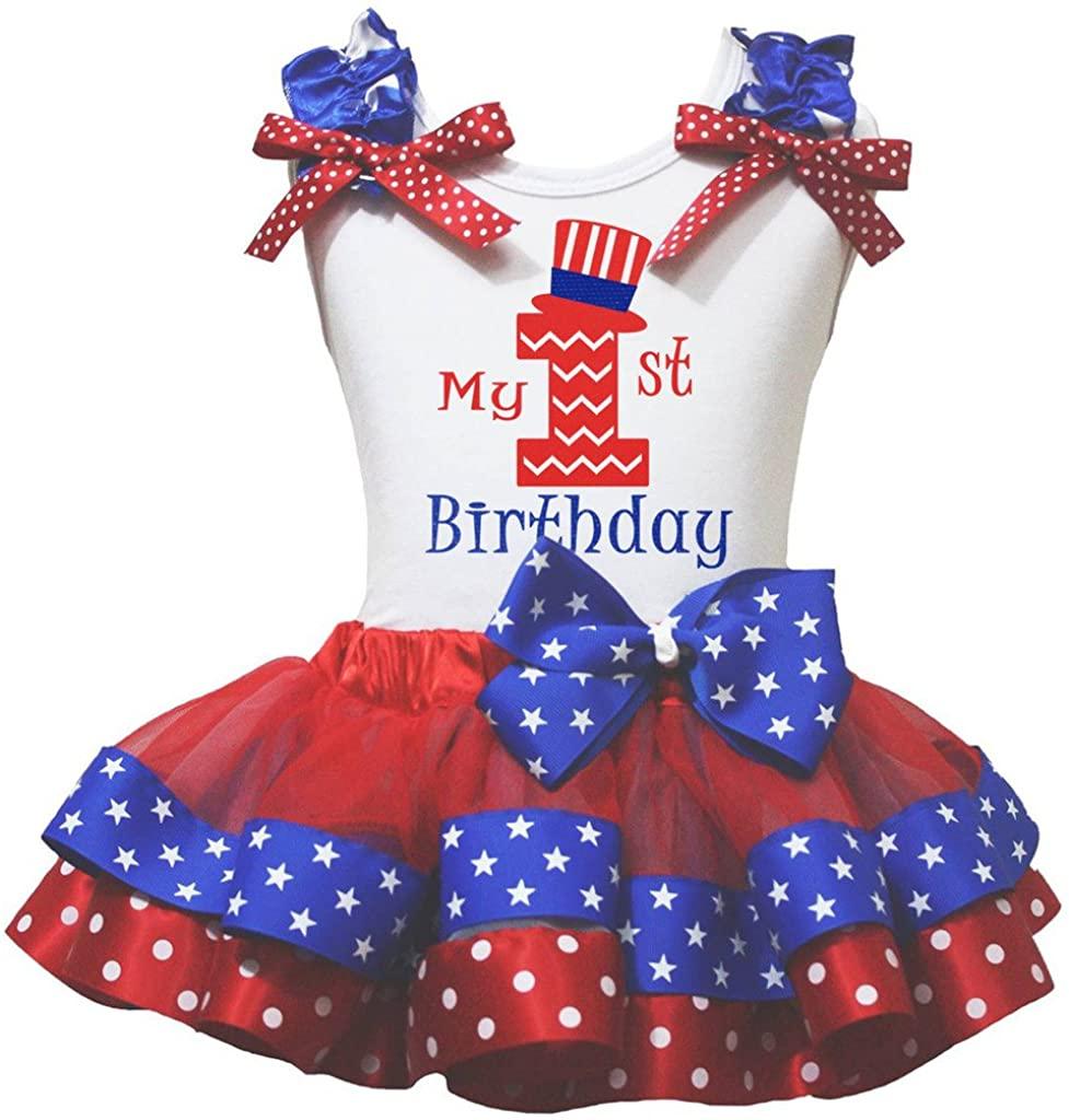 Petitebella My 1st to 6th Birthday White Shirt Red Stars Dots Petal Skirt Nb-8y