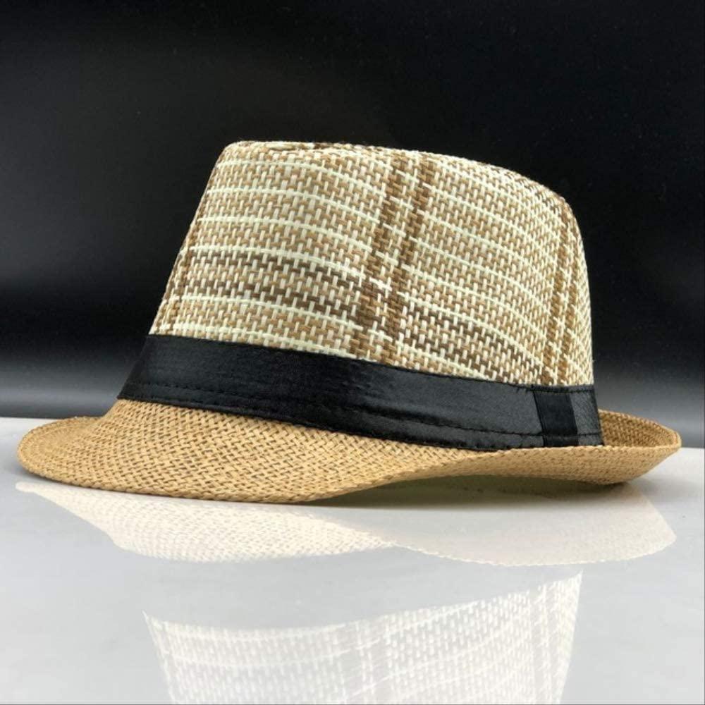 Fashion Summer Straw Men's Sun Hats Fedora Trilby Gangster Cap Summer Beach Cap Panama Hat Sombrero Travel Sunhat 06