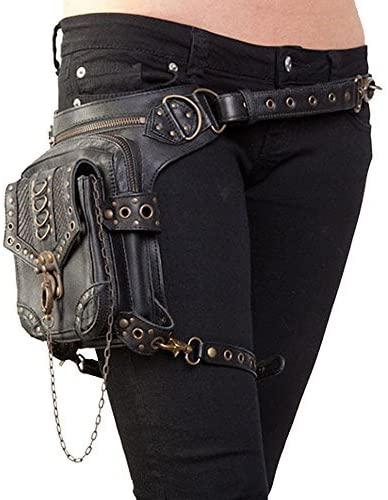Halloween Steampunk Retro Motorcycle Bag Lady Bag Retro Rock Gothic Goth Shoulder Waist Bags Packs Black