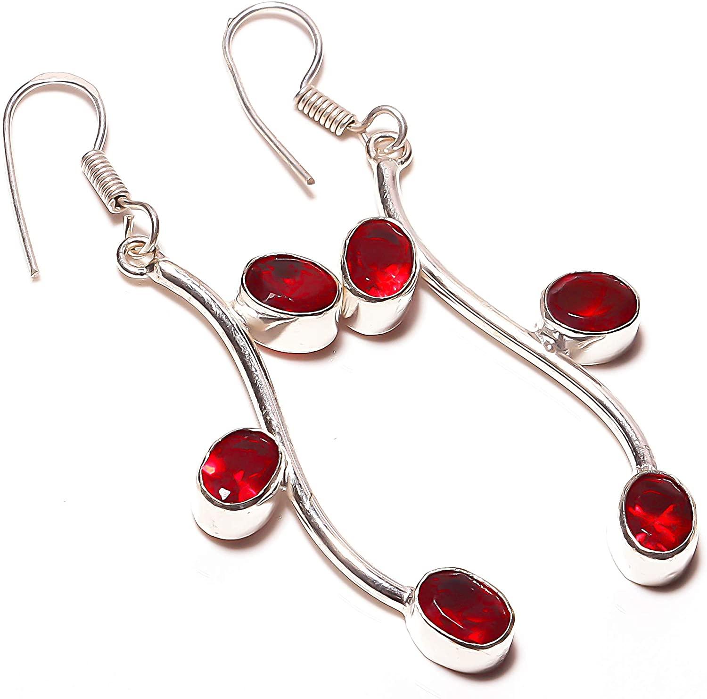 Party Wear! Red Garnet Quartz HANDMADE Jewelry Sterling Silver Plated Earring 2.25 Long