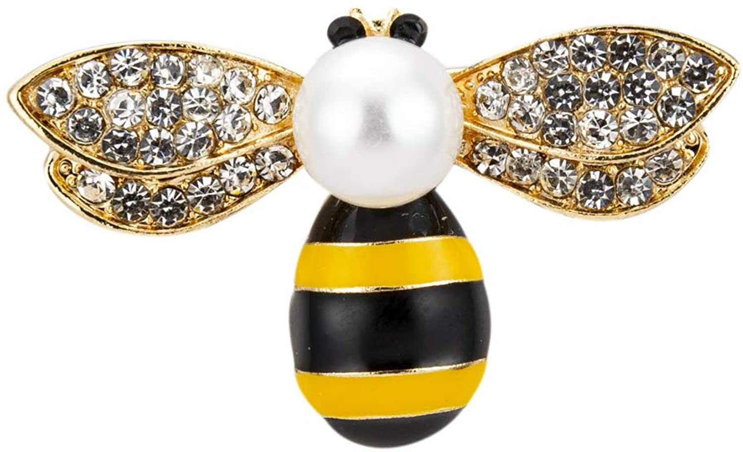 Knighthood Black Gold and Yellow bee with Swarovski and Pearl Top Detailing Brooch
