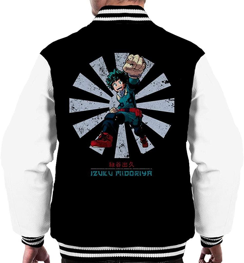 NBUQSG My Hero Academia Izuku Midoriya Retro Japanese Men's Varsity Jacket