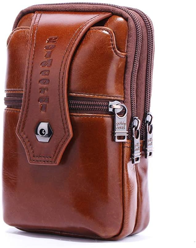 Yehyep Waist Bag Genuine Leather, Men Vertical Phone Pouch Shoulder Messenger Crossbody Bags Men's Casual Bum Hip Belt Waist Bag Fanny Pack