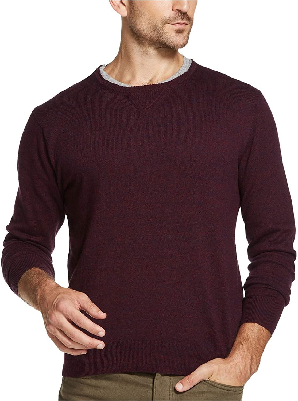Weatherproof Vintage Men's Cotton Merino Cashmere Crewneck Sweater (Navy Wine Twist, X-Large)