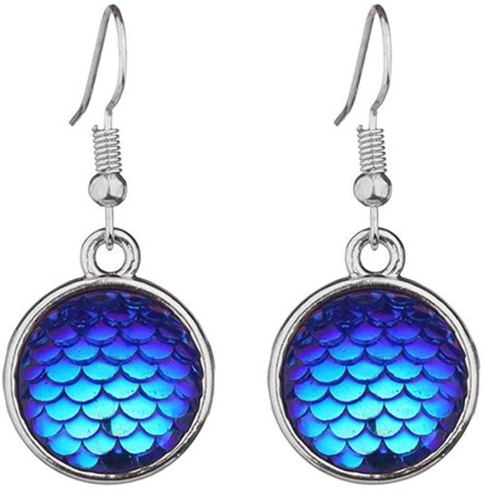 WLLAY Gold Silver Plated Pretty Blue Mermaid Fish Scale Drop Earring Pretty Women Girls Ear Jewelry