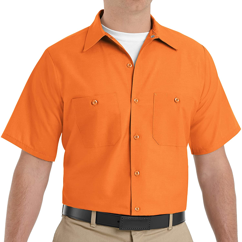 Red Kap Men's Size Industrial Work Shirt, Regular Fit, Short Sleeve, Orange, 2X-Large/Tall