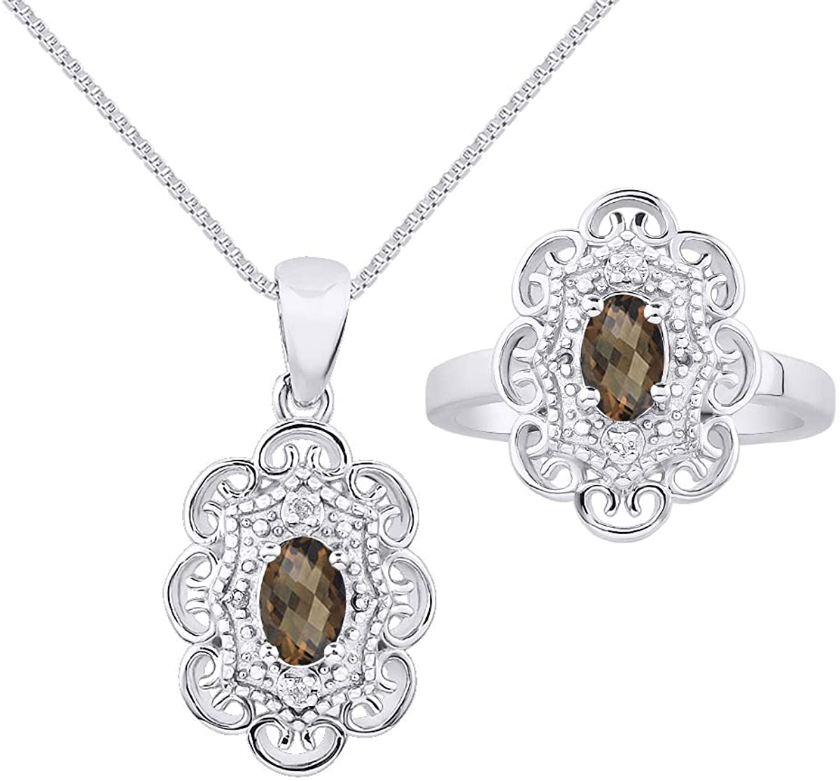 RYLOS Floral Pattern Halo Pendant Necklace & Matching Ring - Oval Shape Gemstone & Genuine Sparkling Diamonds in Sterling Silver .925-6X4MM Color Stone With 18 Chain