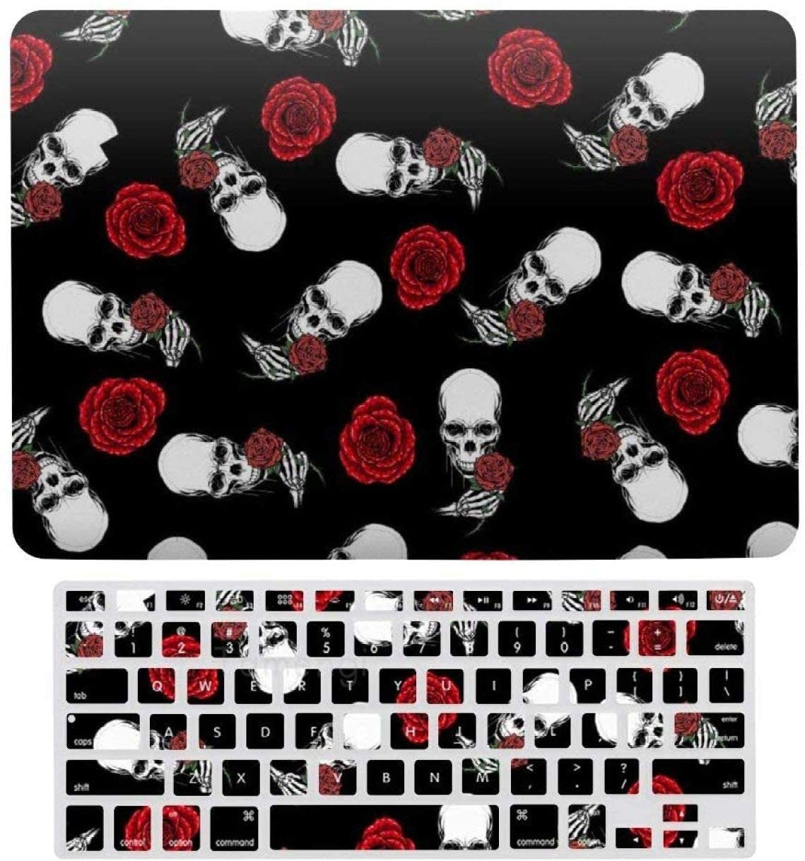 Sugar Skull Rose Style Laptop Keyboard Cover Screen Protector Shell Set for MacBook Air 13 New Pro 13 Touch