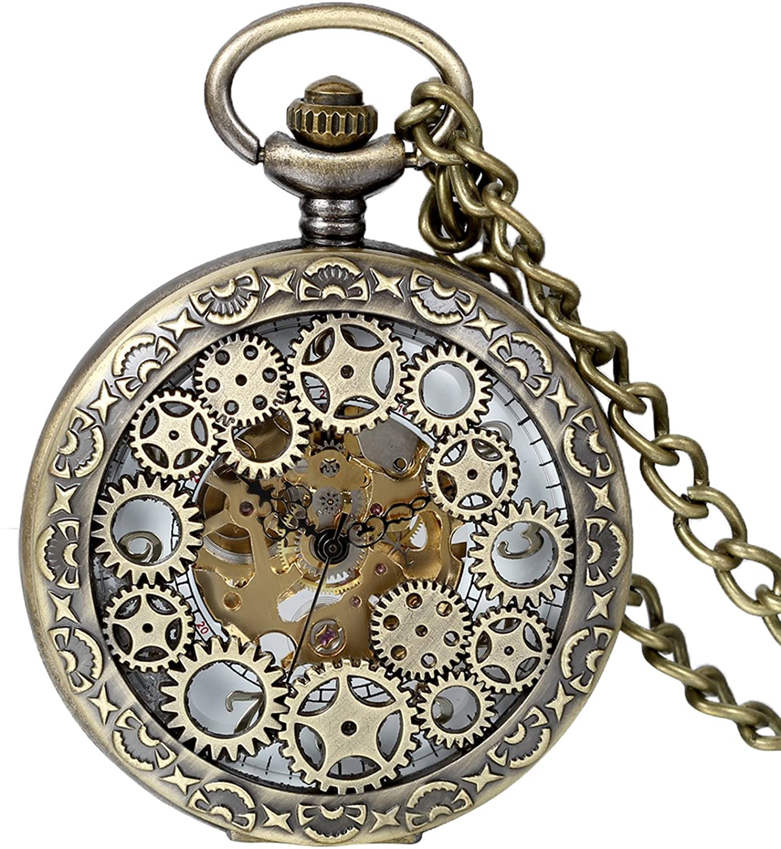 Avaner Steampunk Retro Half Hunter Copper Gear Skeleton Hand Wind Mechanical Roman/Arabic Numeral Analog Display Pocket Watch with 14