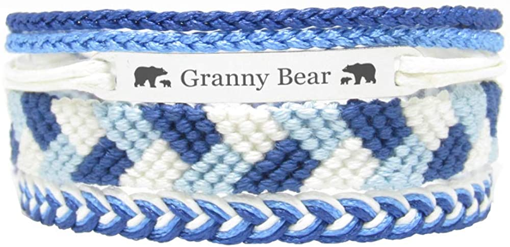 Miiras Family Engraved Handmade Bracelet - Granny Bear - Blue - Made of Embroidery Thread and Stainless Steel - Gift for Granny
