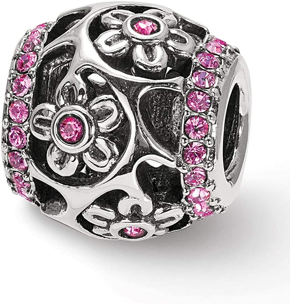 Bead Charm White Sterling Silver Themed Cubic Zirconia CZ Pink 11.04 mm 10.62