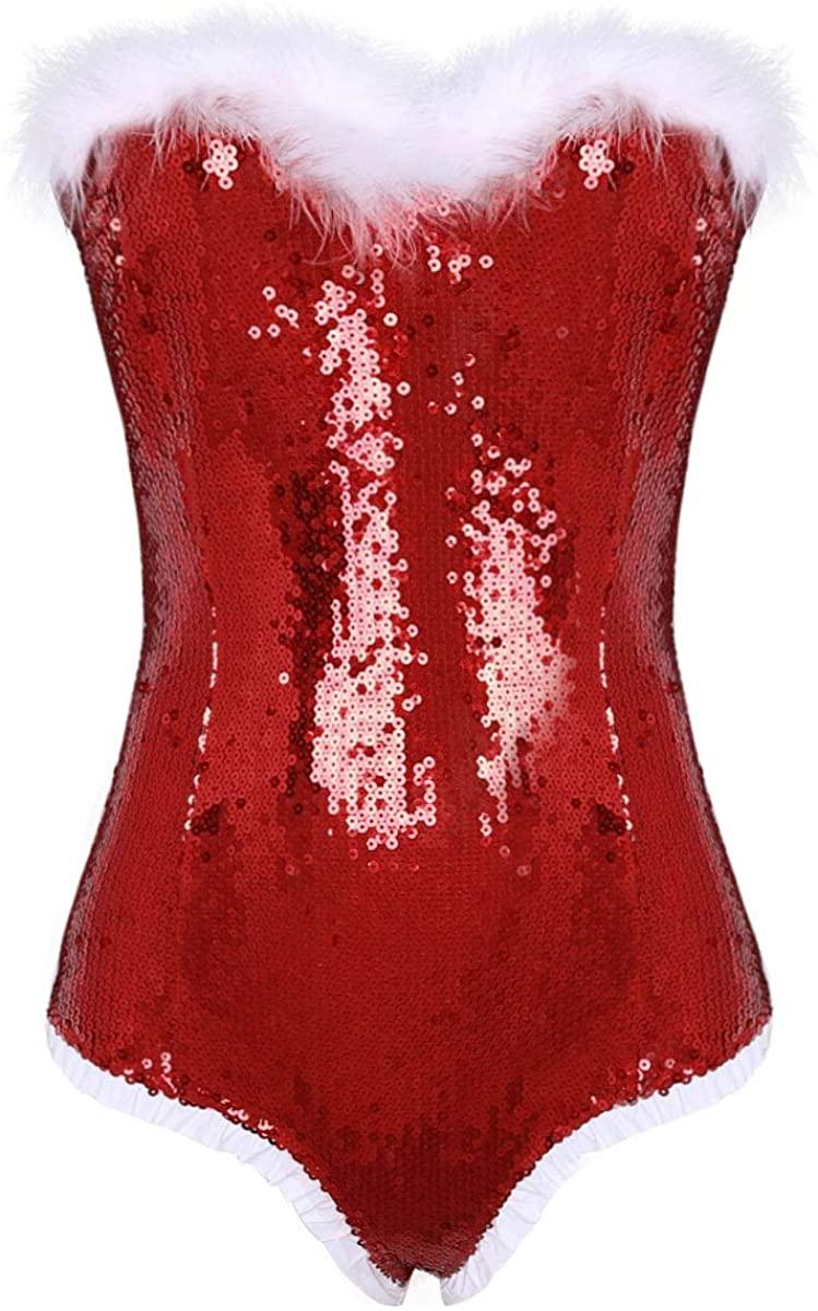 ACSUSS Women's Mrs Claus Santa Costume Shiny Sequins Off Shoulder Leotard Bodysuit
