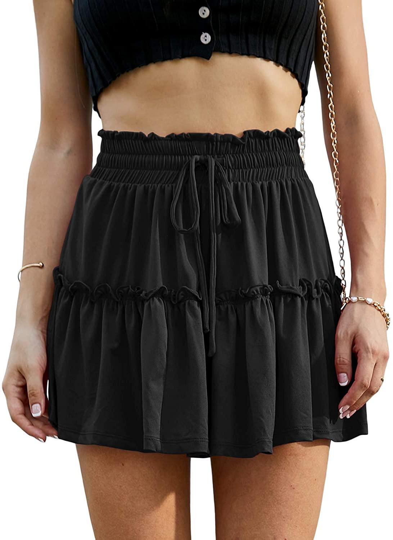 Doublju Womens Flower Pattern Style Waist Strap Mini Skirt