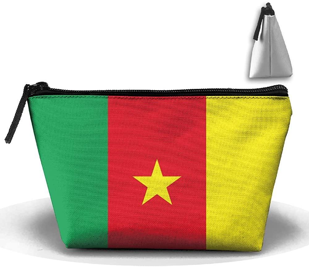 HTSS Cameroon Flag Portable Makeup Receive Bag Storage Large Capacity Bags Hand Travel Wash Bag