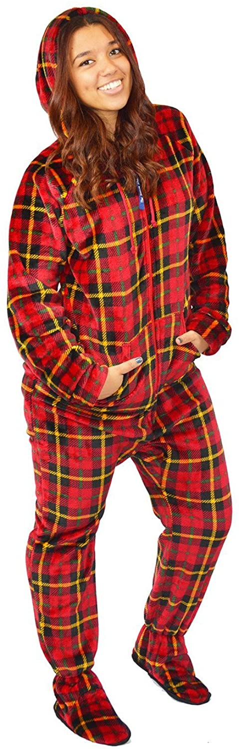 The Snooze Shack Ultra Plush Onesie Pajamas with Feet and Drop Seat Bottom - Lumberjack Plaid from