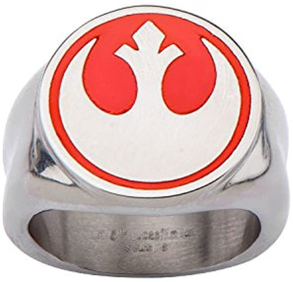 Disney Men's Stainless Steel Star Wars Red Rebel Symbol Ring
