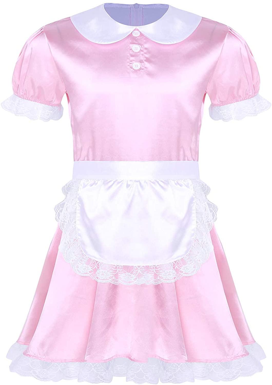 inhzoy Men's Sissy Smooth Satin French Maid Cosplay Uniform Crossdress Nightwear Pajamas