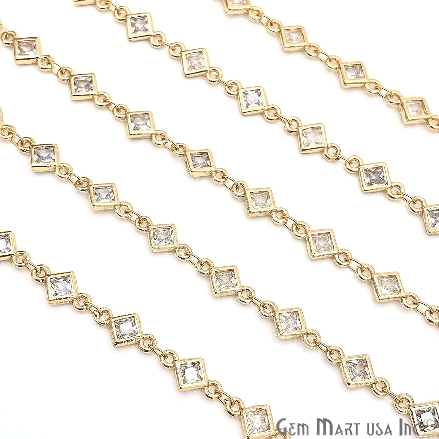 White Cubic Zirconia Chain, Continuous Chain Connector Chain, Gold Plated Chain, Rhombus Shaped Connector, Gold Cubic Zirconia Chain (GPCZ-30003)