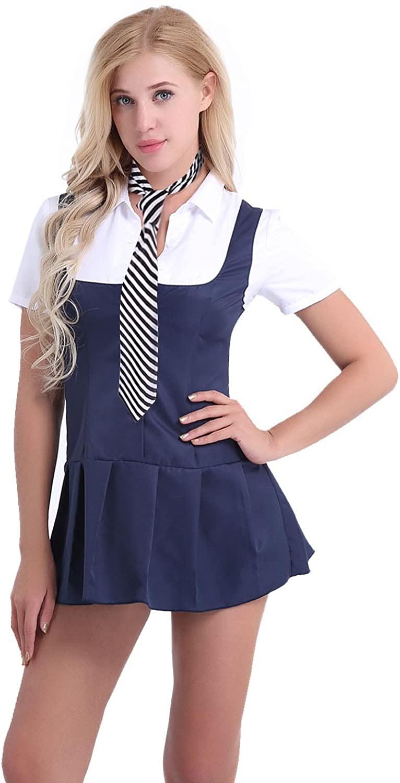 iiniim Women Schoolgirl's Sailor Cosplay Costumes Lingerie Set Necktie Shirt Dress