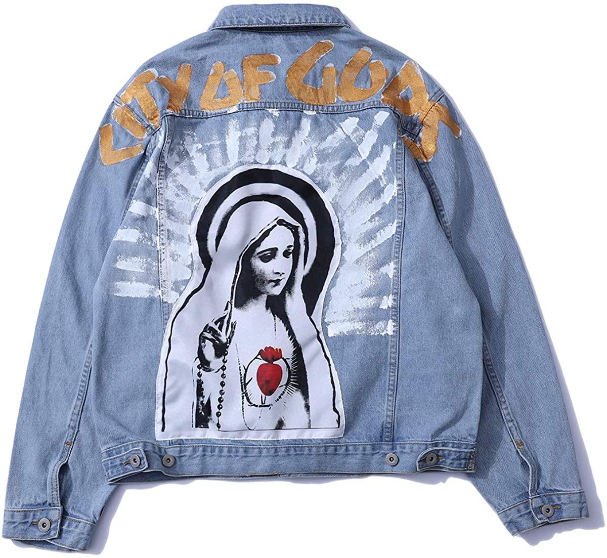 Lity Of Gog Denim Jacket Graphic Print Washed Jacket Hip Pop Button Down Trucker Jacket
