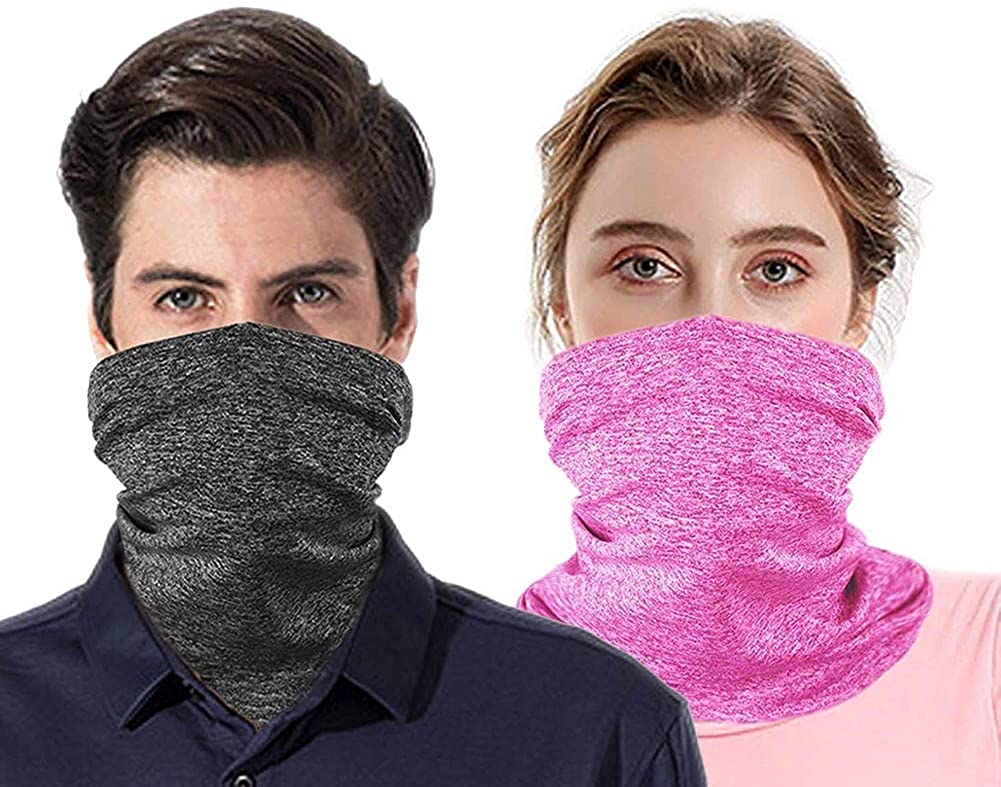 NKeepB 2pcs Multi-purpose Face Cover Neck Gaiter with Safety Carbon Filters for Camping Hiking Headwear Bandana