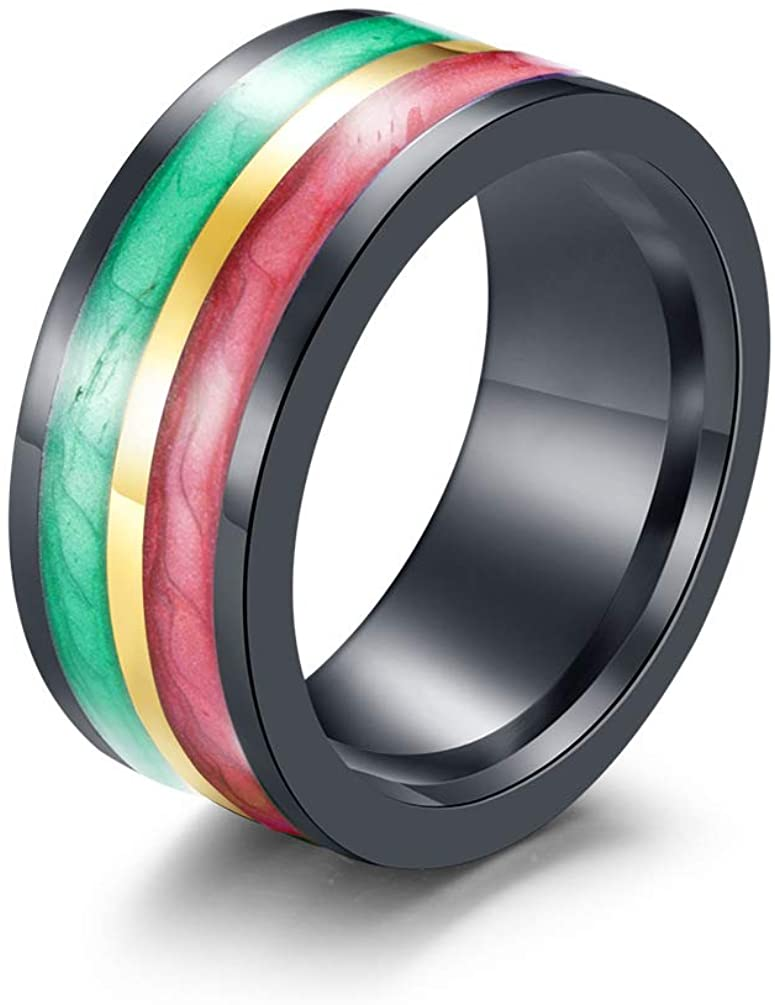 JAJAFOOK 8MM Unisex's Stainless Steel Enamel Rainbow Ring Band Size 7-12