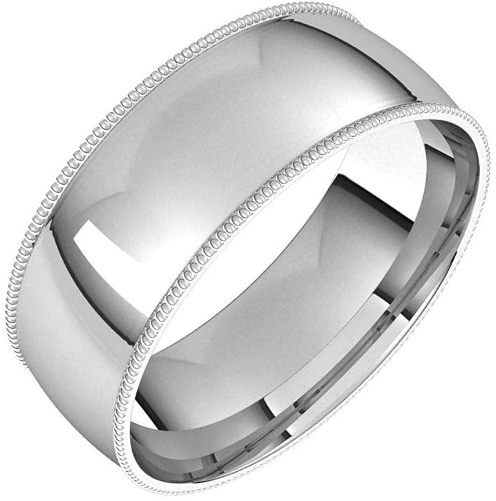 Solid Palladium 7mm Milgrain Half Round Comfort Fit Light Wedding Band Size 12.5