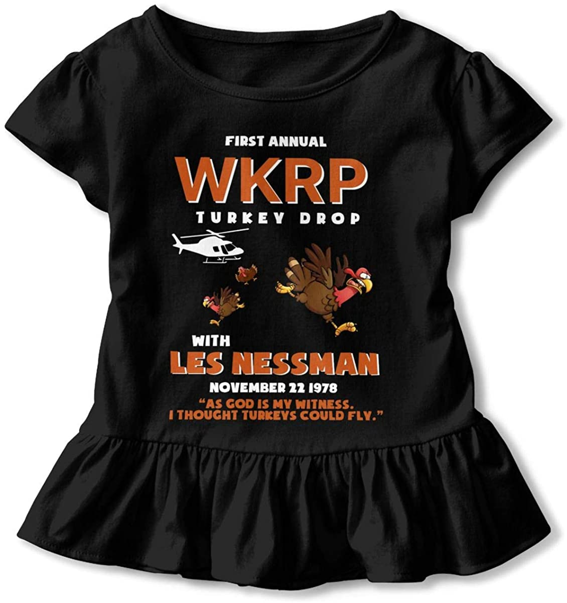 Funny First Annual Wkrp'Turkey'Drop As God is My Witness Children's Short Sleeve T Black
