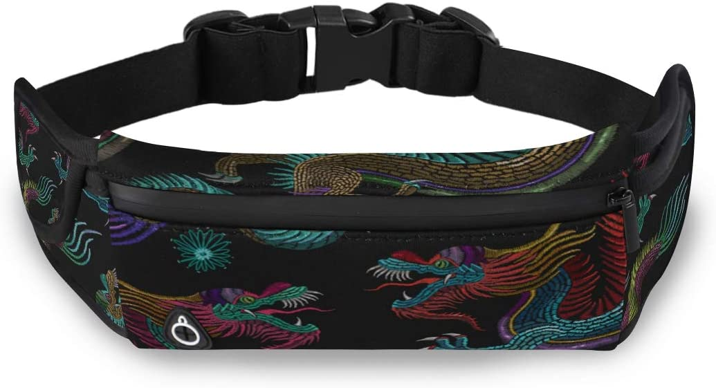 Chinese Retro Golden Auspicious Dragon Kid Fanny Pack Men Bag Waist New Fashion Bags With Adjustable Strap For Workout Traveling Running