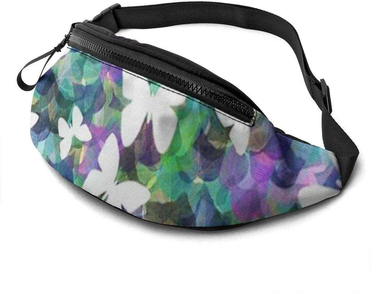 Butterfly Fanny Pack For Men Women Waist Pack Bag With Headphone Jack And Zipper Pockets Adjustable Straps
