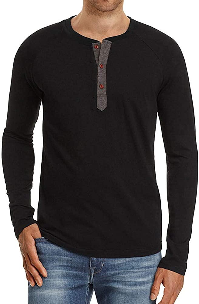 Rela Bota Men's Henley Shirts - Cotton Short/Long Sleeve Tops Fashion Casual Shirt