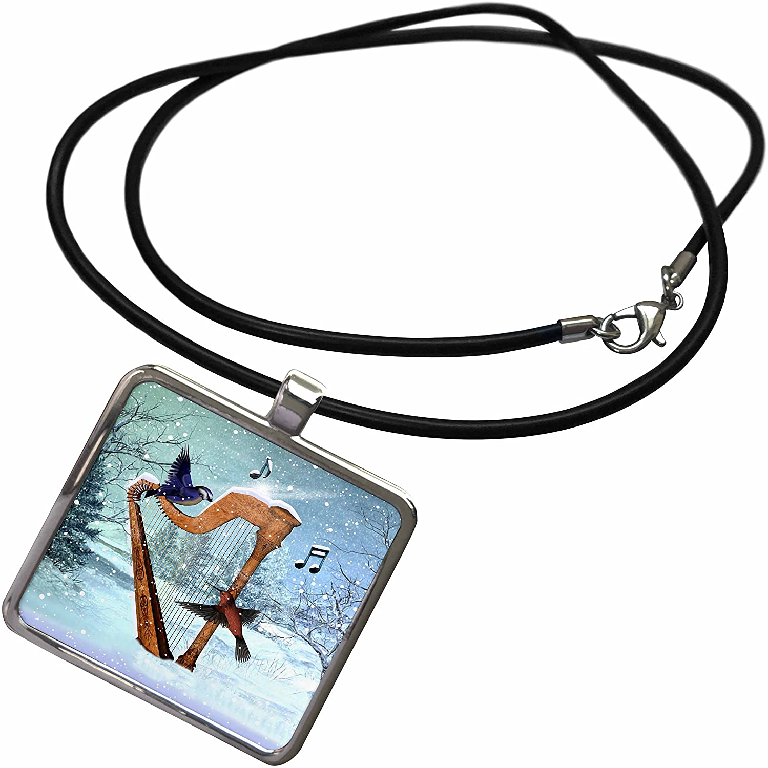 3dRose Renderly Yours Winter and Christmas - Bluebird and Hummingbird with A Harp in The Snow and Musical Notes - Necklace with Rectangle Pendant (ncl_97860)