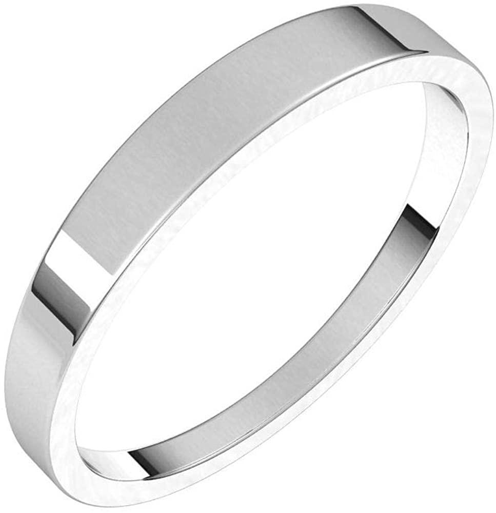 Solid Palladium 3mm Flat Tapered Wedding Band Size 7.5