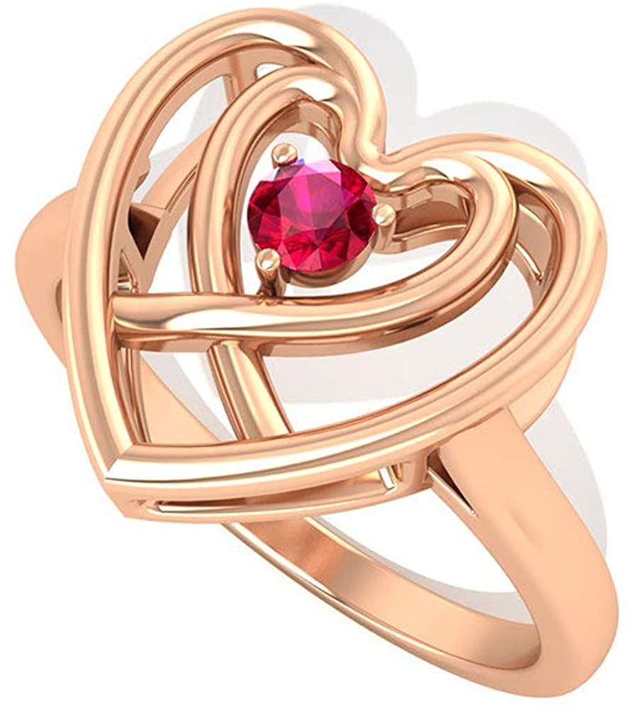Solitaire Ruby Double Heart Ring, Minimalist Gemstone Wedding Ring, Forever Love Anniversary Ring, Unique Vintage Ring, Birthday Valentine Day Gift, 14K Rose Gold, Size:US 8.5