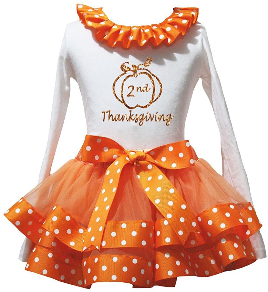 Petitebella 2nd Thanksgiving White L/S Shirt Orange White Dots Petal Skirt Nb-8y