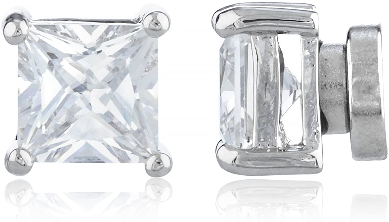 Silvertone Magnetic Earrings with Clear Cz Square - 4mm to 12mm (6 Millimeters)(E-1514 (FBA)