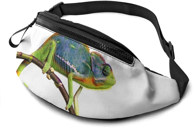 Nature Animal Colorful Chameleon Fanny Pack for Men Women Waist Pack Bag with Headphone Jack and Zipper Pockets Adjustable Straps