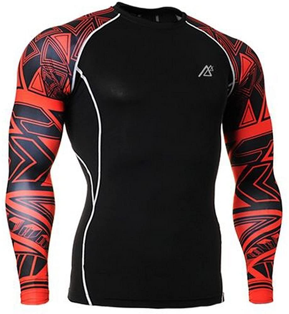 Men's Fashion Rash Guard Shirts Long Sleeve Asian Size M-4XL Black