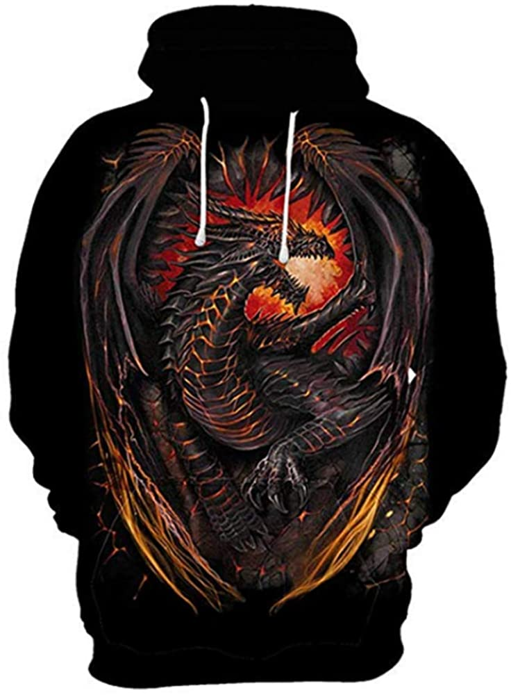 ZIMCA Boy Fashion 3D Dragon Printed Pullovers Casual Pouch Pocket Hoodies