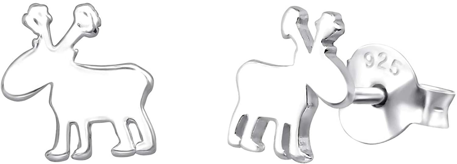 Sterling Silver Moose Stud Earrings with Push Back