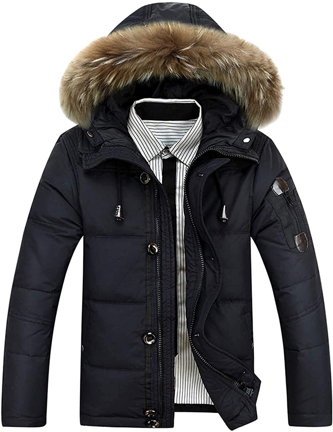 Xudcufyhu Men's Winter Fur Hood Windbreaker Puffer Down Jacket Parka