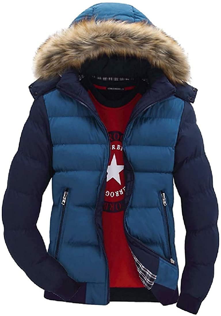 Xudcufyhu Men Winter Color Block Faux Fur Hooded Down Quilted Puffer Jacket Coat Outerwear