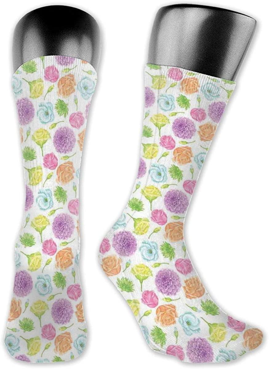Compression Socks Medium Sock, Romantic Feminine Arrangement Of Roses Chrysanthemum And Daisies Flourishing Nature