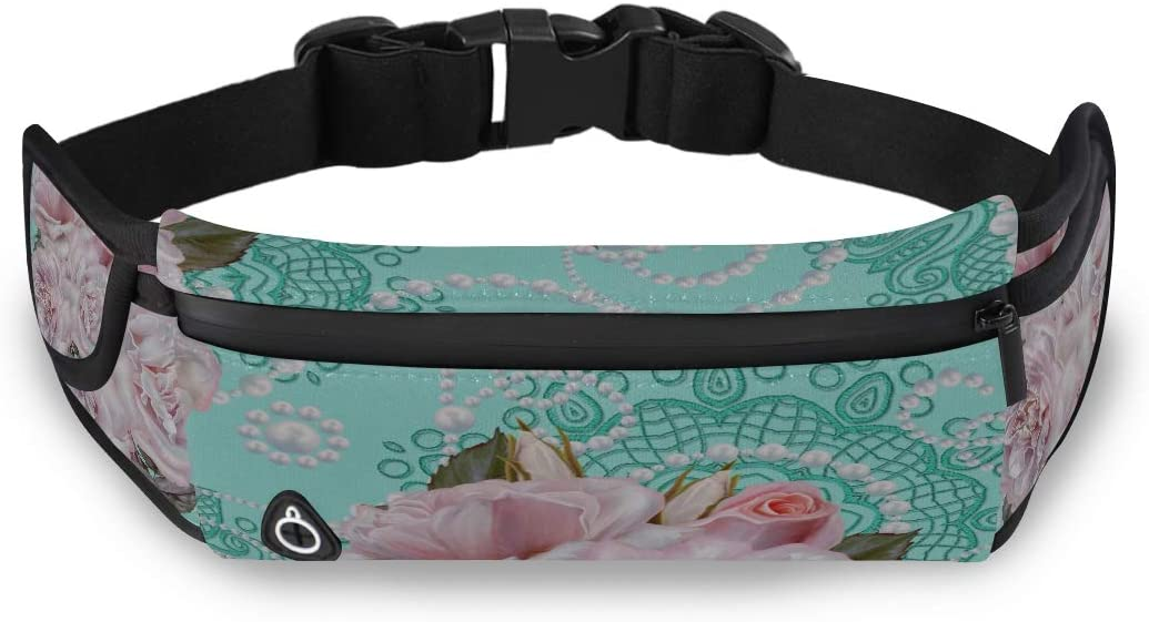 Bouquet Flower Pearl Jewelry Waist Hip Pack Beach Fashion Bag Womens Waist Pack With Adjustable Strap For Workout Traveling Running