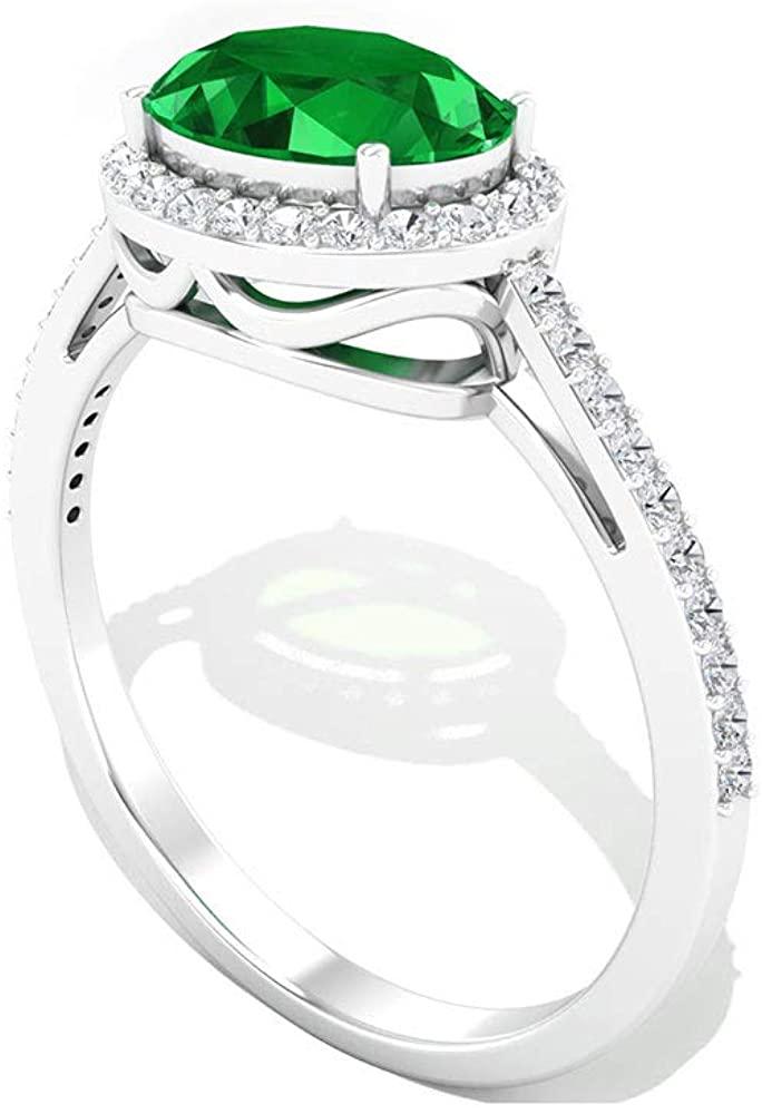 1.47 Carat Emerald IGI Certified Diamond Halo Engagement Ring, Green May Birthstone Bridal Wedding Anniversary Ring, Side Stone Gemstone Promise Rings, 14K White Gold, Size:US 9.5