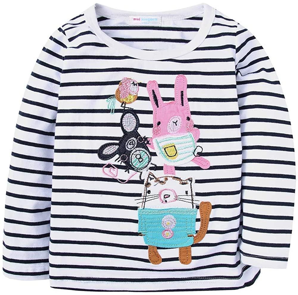 LittleSpring Toddler Girls Cartoon T-Shirt Long Sleeve Stripes Animal Applique 3T