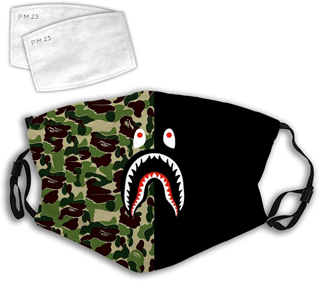 BOKUTT Fashion mask Green Black Shark,Cat Cartoon Pink Face Mouth Adjustable Reusable Dust Cover For Men And Women Scarves-Windproof and dustproof, reusable