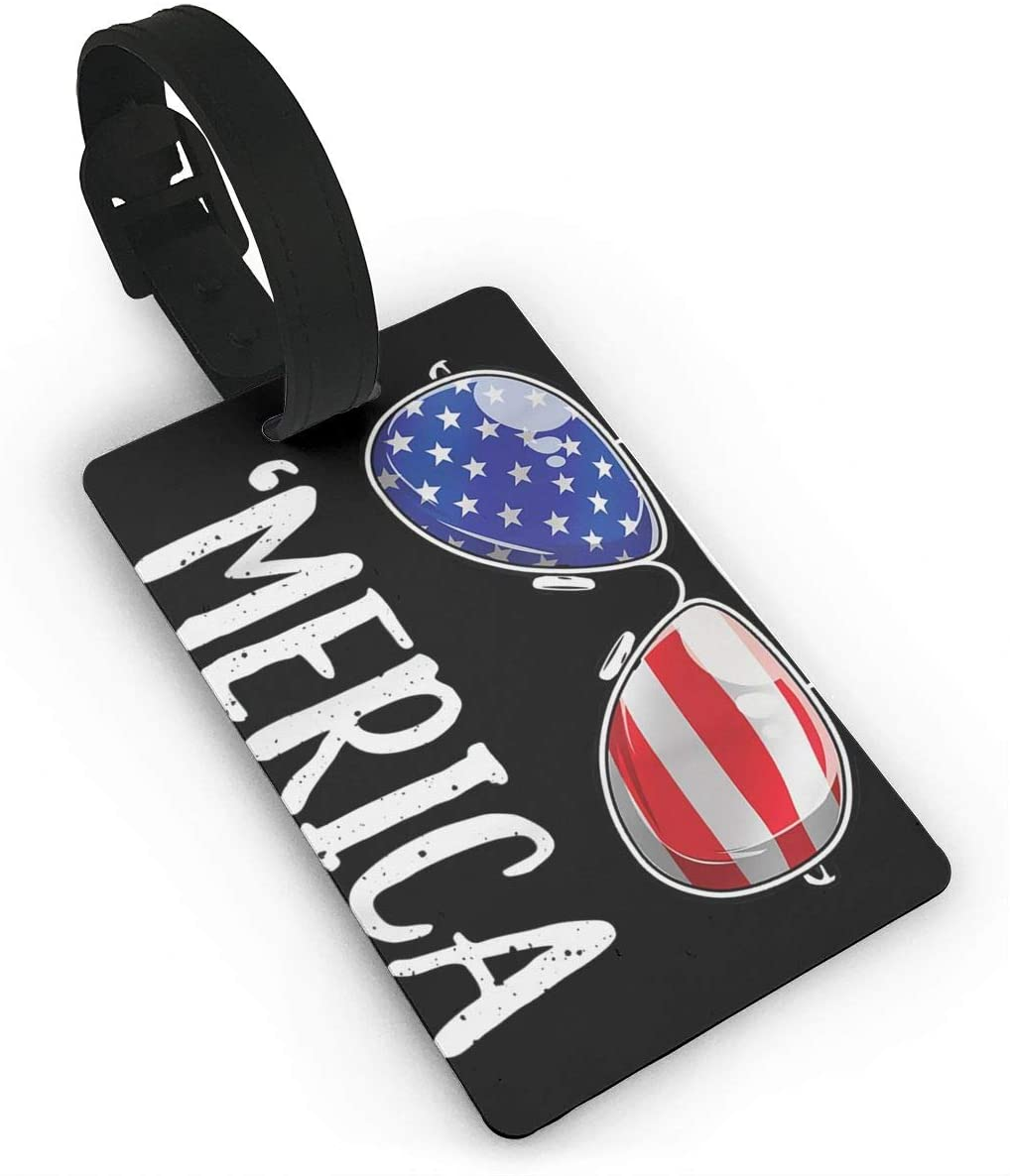 Merica Sunglasses Tags Carry On Cards Expression Luggage Tag Travel Card Bag Label Card Identity Card Baggage Tags