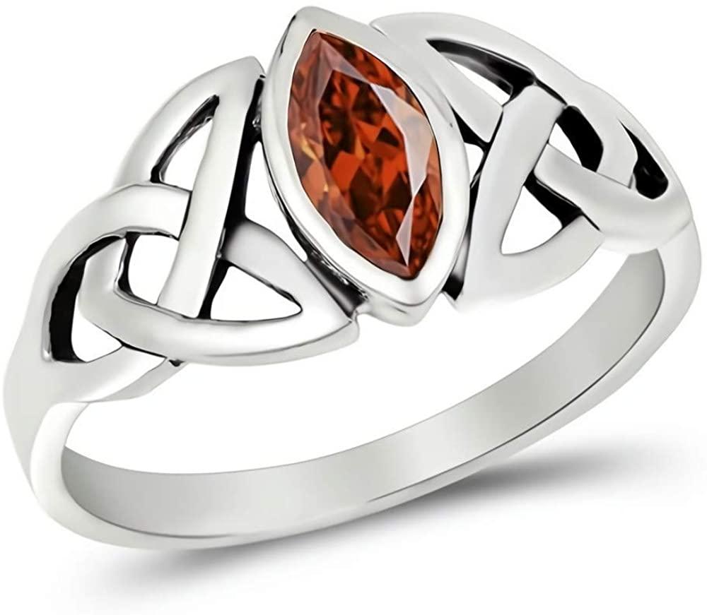 Glitzs Jewels 925 Sterling Silver CZ Ring (Dark Red/Celtic) | Cubic Zirconia Jewelry Gift