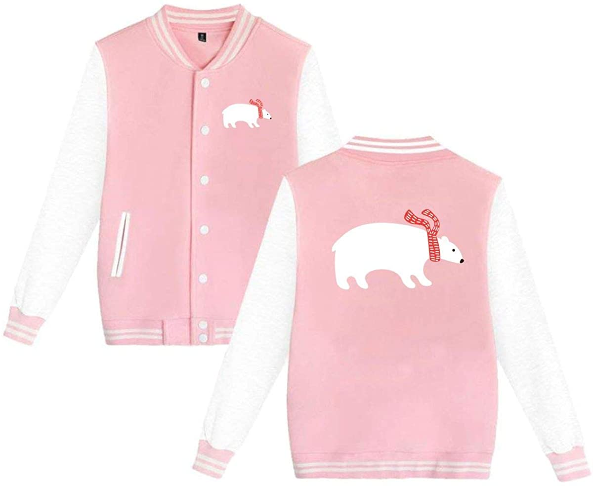 Unisex Varsity Jacket Polar Bear Baseball Letterman Jackets Sport Coats
